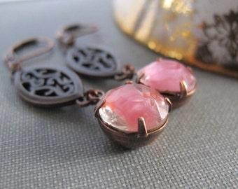 Rhinestone Earrings, Rose Pink Glass, Copper Earrings, Rose Givre Glass, Vintage Glass Charms, Filagree Copper
