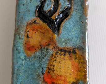 Ceramic  Mezuzah  Case, Abstract Stamped and Carved Design, Handpainted Letter Shin