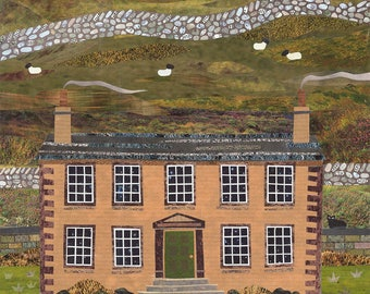 Brontë Sisters Greeting Card, Haworth Parsonage, Collage, Notecard, Naive, Amanda White Design, Brontë Country, Writers, Booklovers' Card