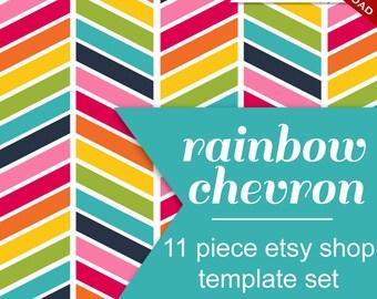 Etsy Shop Set - Etsy Banner Set - Custom 11 Piece Rainbow Chevron Minimalist Retro DIY Template - rbc Geometric ZigZag Photoshop Publisher