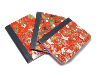 3 Sturdy Covered Mini Notebooks, Made with Origami Paper, 50 Lined Pages, 3.25x4.5 inches