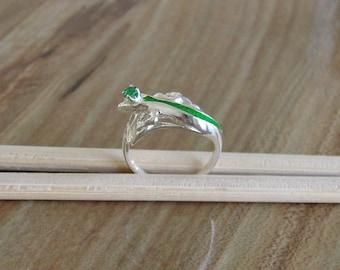 925 Sterling Silver Emerald Lizard Ring