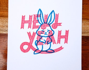 Hell Yeah Gocco Print - Hell Bunny