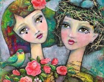 Best Friends, Sisters, Love Art Print, Girly Inspirational Art, Besties Forever, Gal Pal Painting, Wedding, Bridesmaid Gift, Two Girls Bird