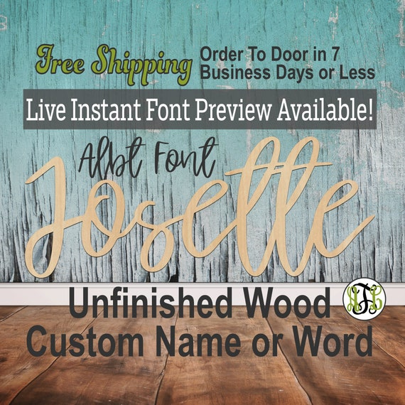 Font Custom Name or Word Sign, Cursive, Connected, wood cut out, wood cutout, wooden sign, Nursery, Wedding, Birthday, name sign, Script