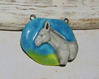 Pendant freeform ceramic animals, donkey, design jewelry, necklace