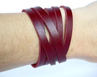 Currant Red Leather Wrap Bracelet Cuff:  Double Strand Triple Wrap Custom Leather Cuff // Leafy Treetop Leather // Red Leather Cuff