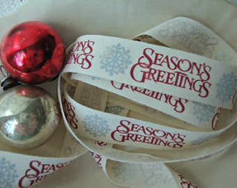 """Ivory Cotton Twill with """"Season's Greetings"""" Script Ribbon"""