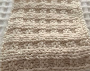 Dish Cloth / Wash Cloth Hand Knitted All Cotton Pastel colours
