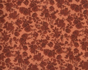 Floral Fabric, Quilters Calicos, Dark Orange Floral Fabric, Orange Fabric, Orange Flowers, 10022