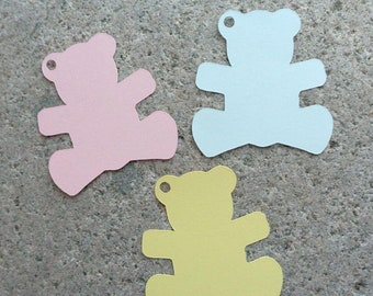 Die Cut Bears Baby Shower Tags Baby Bear Gift Tags Gender Reveal Party Teddy Bear Tags Baby Shower Decor Choose Style, Color 24 Paper Bears