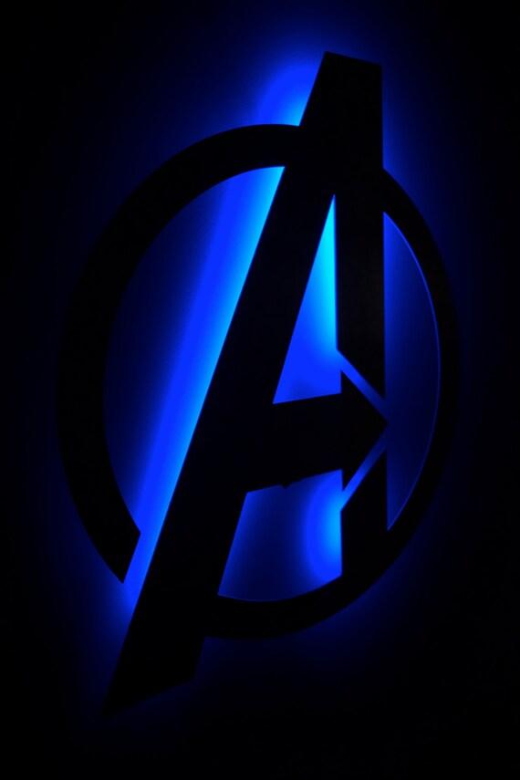 Avengers Logo Back Lit Floating Metal Wall Art