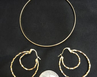 14K Gold Double Hoop Earrings & 14K Bangle