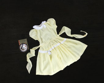 Girls Vintage Yellow Dotted Swiss dress - 1960s - size 8-10