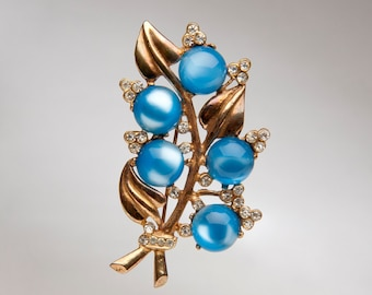 Vintage Lucite Blue Moonglow and Rhinestone Floral Brooch
