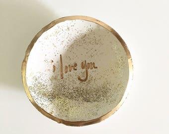 Ring Dish, Clay Ring Dish, Wedding Gift, Anniversary Gift, Personalized Ring Dish, Bridal Shower Gift, Ring Holder, Custom Ring Dish