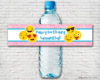 Pink Sparkles Emoji Printable Water Bottle Labels