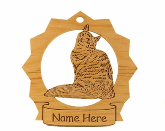 Siberian Cat Wood Ornament 087403 Personalized With Your Cat's Name