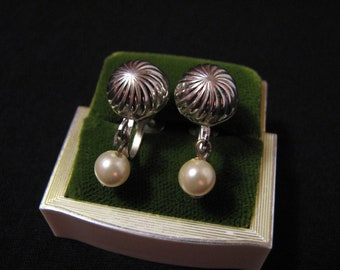 Vintage Coro Silver Tone and White Faux Pearl Puffy Dome Screwback Earrings