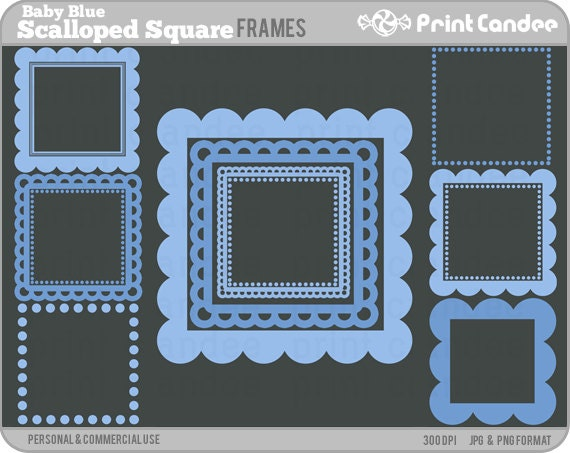 Scalloped Square Frames Baby Blue