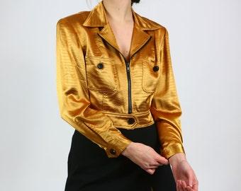 80's Gold Snakeskin Print Cropped Jacket / M