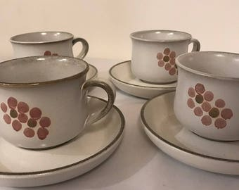 Vintage Denby Stoneware / Gypsy Pattern / Handcrafted Denby / 4 x Tea Cups and Saucers / Vintage Tea Cups and Saucers / Made in England