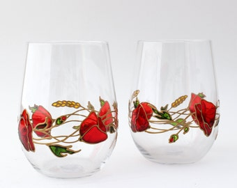 Stemless wine glasses Drinking glasses Red poppies glasses Teacher appreciation Glasses for wine Painted glassware Gift for women Mother day