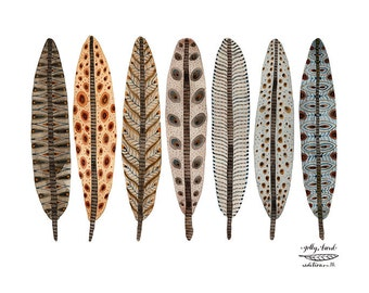 Terra Feathers Collection Print, giclee art print, watercolour print, bird feathers illustration, plumage