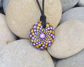 Purple Painted Mandala Necklace - Paint Rock - Mandala Rock - Pendant - Mandala Art - Hand-Painted Pendant Stone - Chakra