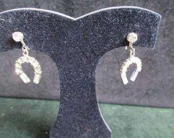 Rhinestone Lucky Horse Shoe Earrings Screw Back