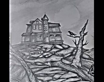 "original artwork, OOAK, graphite ""Haunted"""