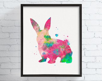 Bunny Wall Art, Watercolor Bunny Print, Bunny Art, Bunny Painting, Rabbit Art, Rabbit Print, Woodland Animal Art, Nursery Art Print,, Framed