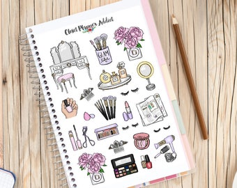 Beauty Babe Planner Stickers | Makeup Stickers | Cosmetics Stickers | Pampering Stickers | Beauty Lifestyle (S-261)