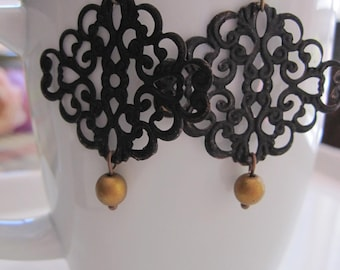 Black Patina Earrings, Black Filigree, Diamond Shaped, Morrocan, Bronze Dangle, Tribal, Bohemian Style, Redpeonycreations