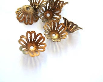 6 Vintage cap beads7mm height, about 16mm the upper open part