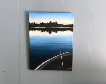 Morning Fishing Original Oil Painting Small Fine Art Lake with Black Silhouetted Trees