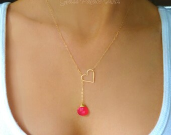 Heart Lariat Necklace Gold, Heart Y Necklace, Heart Infinity Necklace With Pink Gemstone, Romantic Jewelry Silver, Graduation Gift For Her