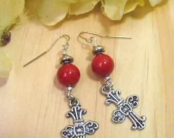 Cross Earrings, Cross Jewelry, Antiqued Silver Cross, Red Stone Beads, Christian Earrings, Christian Jewelry, Religious Earrings