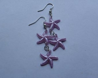 Dangle Lavender Starfish Earrings  #239