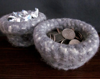 Handmade Grey & White Flecked Felted Wool Bowl for sale
