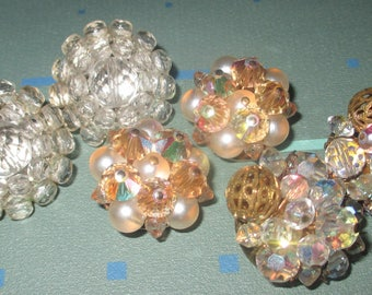 Vintage Fab 50s Aurora Borealis Crystal Clip Earrings LOT