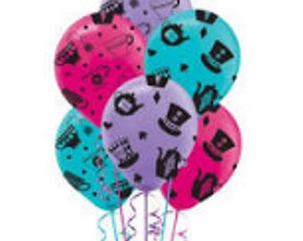 Alice in Wonderland Mad Hatter Tea Party Balloons set of 6