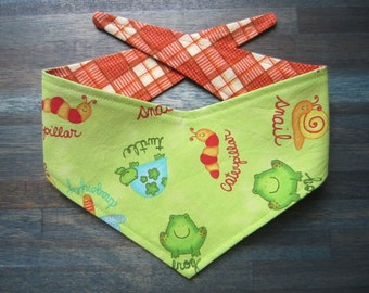 XS reversible tie on dog bandana - Green frog/orange plaid Kanine Kerchief