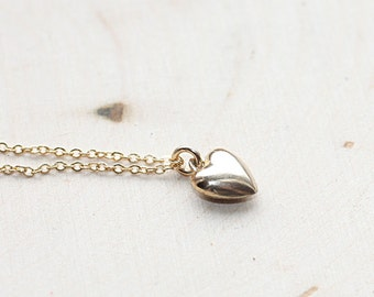 Tiny Heart Necklace, Gold Heart Necklace, Puffed Heart Necklace, Minimal Necklace, Puff Heart Charm, Layering Necklace, Delicate Jewelry