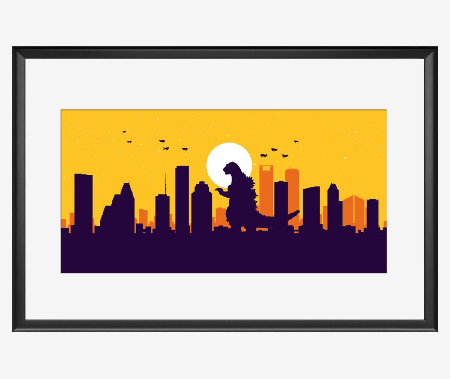 Houston Skyline print Houston Texas Houston art Houston