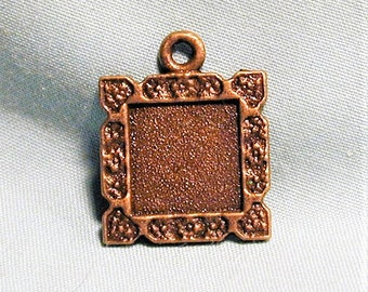 9pc Bronze Picture Frame Charms 18mm x 18mm  C269