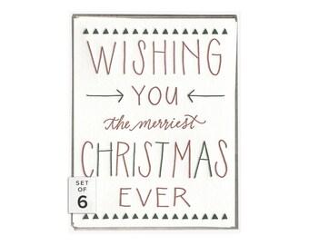 Merriest Christmas Ever letterpress card - set of six