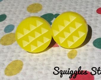 Sale! Hypoallergenic Stud Earrings with Titanium Posts- Round Yellow Geometric Triangle Minimalist - Sensitive Ears