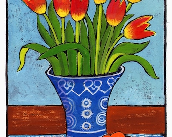 Red Yellow Tulips Still Life Digital Giclée Wall Art Print
