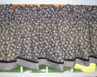 """Black & White Flower 2 Toile Valance 17"""" x 81""""  Can Alter Curtain Window Treatment"""